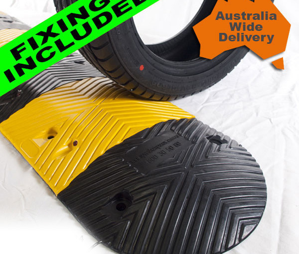 Heavy Duty Rubber Speed Hump-500mm Long x 50mm High x 350mm Wide, Free Delivery and Mounting Bolts